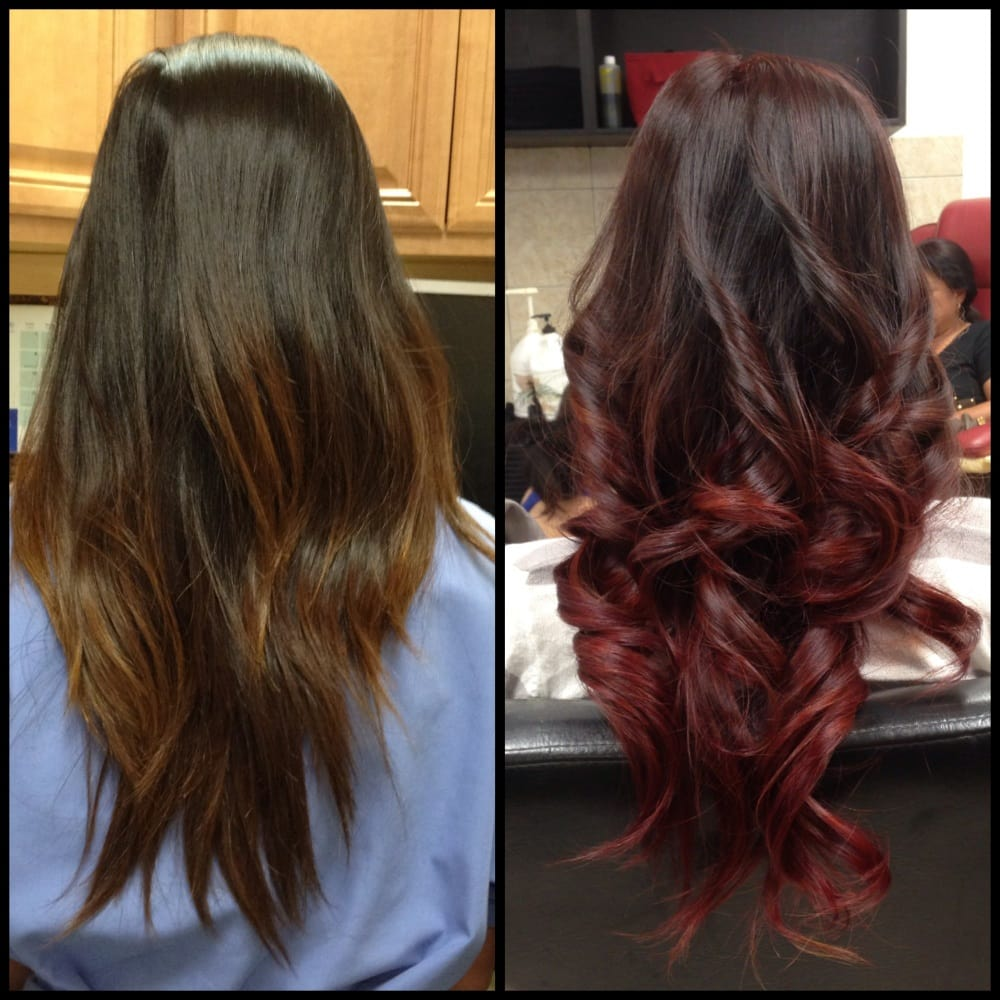 Burgundy Ombre and curls. | Yelp