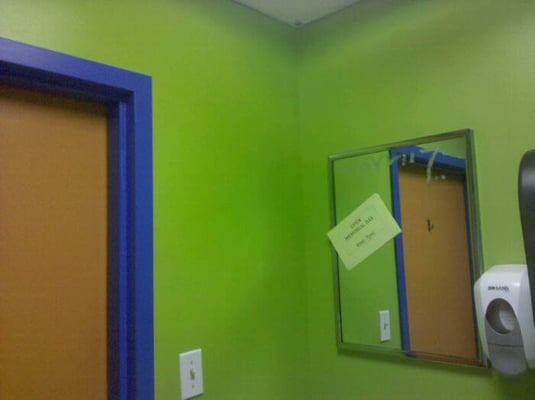 Small bathroom orange blue and green yelp for Blue and orange bathroom