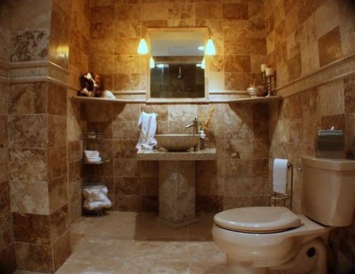 Travertine Sinks Bathroom : Travertine Bathroom with pedestal sink Yelp