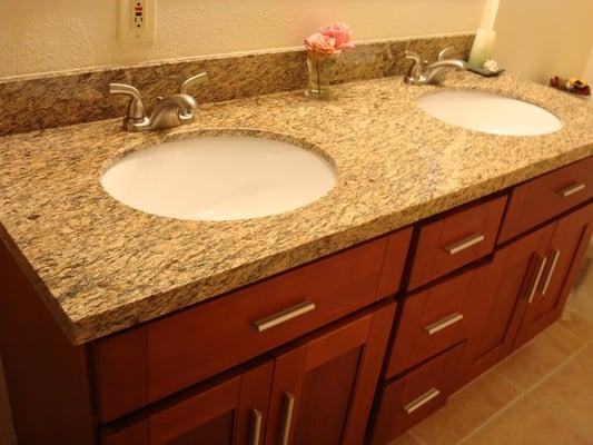 Bathroom Remodel With Slab Granite Counters And Tile Floor Yelp