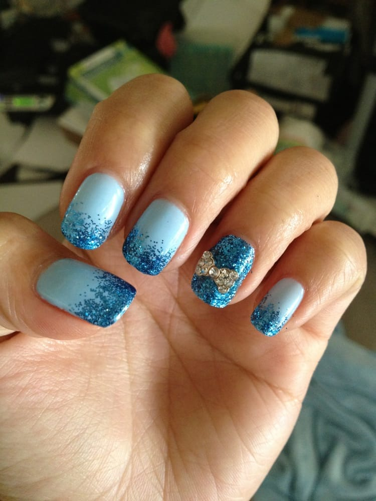 Gel Nails Done By Nana Blue Glitter Gradient With