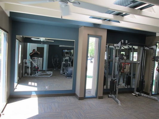 Home gym custom mirror installation full length mirrors