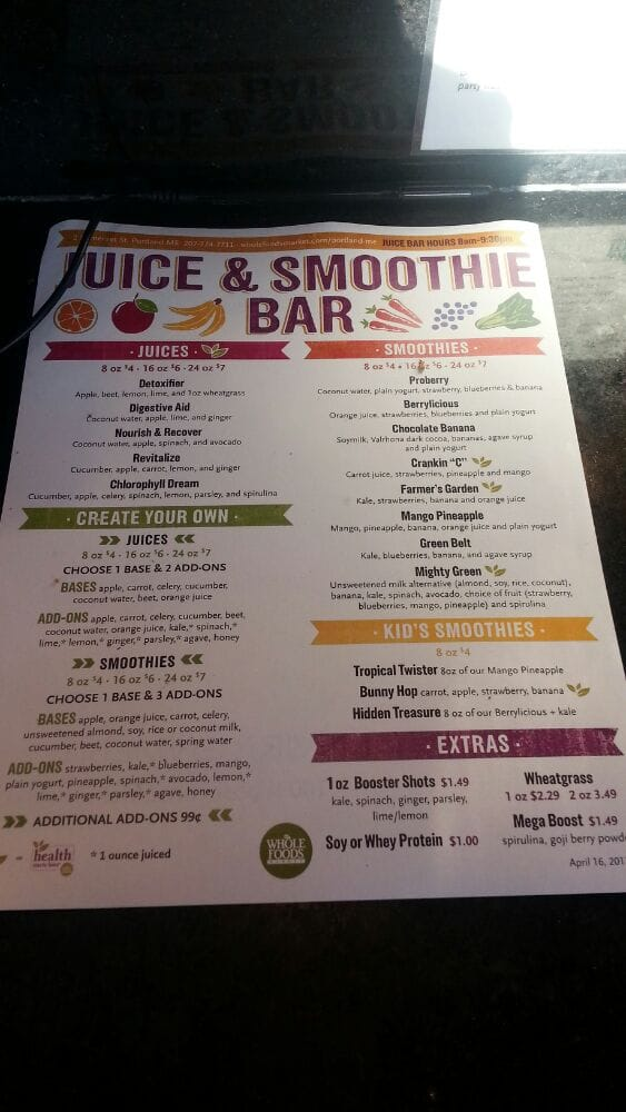 Juice and smoothie bar menu yelp for Food bar menu