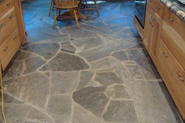 Stone floor refinished kitchen