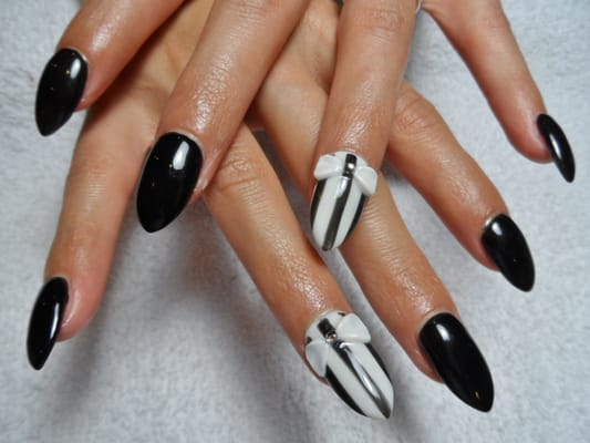 3D white Bow, rhinestones & stripe accent on acrylic nails. | Yelp