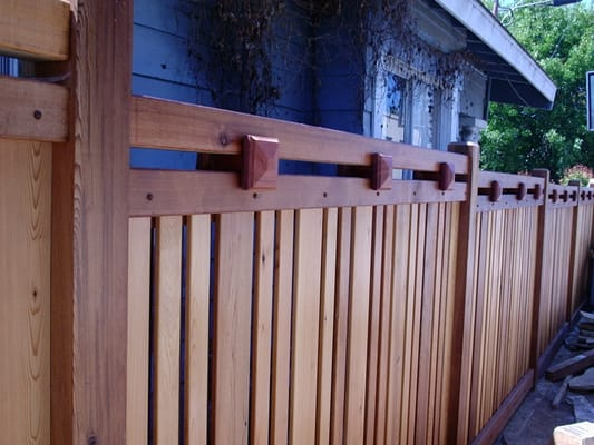 Craftsman style clear cedar fence in mission hills yelp for Craftsman style fence