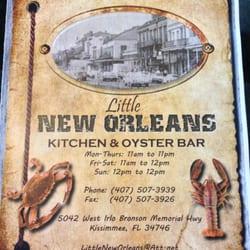 Little New Orleans Kitchen Oyster Bar Menu