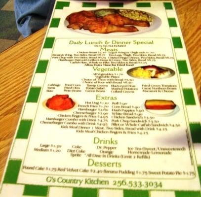 G Country Kitchen Huntsville Al Menu