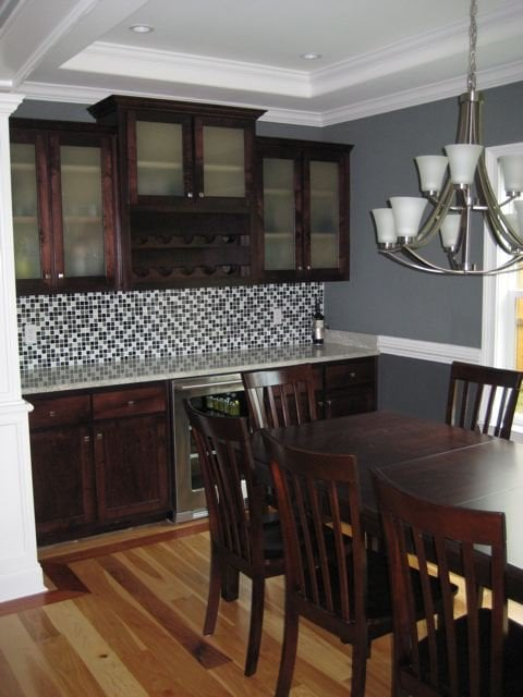 Contemporary Dining Room With Built In China Cabinet And