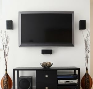 Tv Mounting With Surround Sound System Speakers Mounted