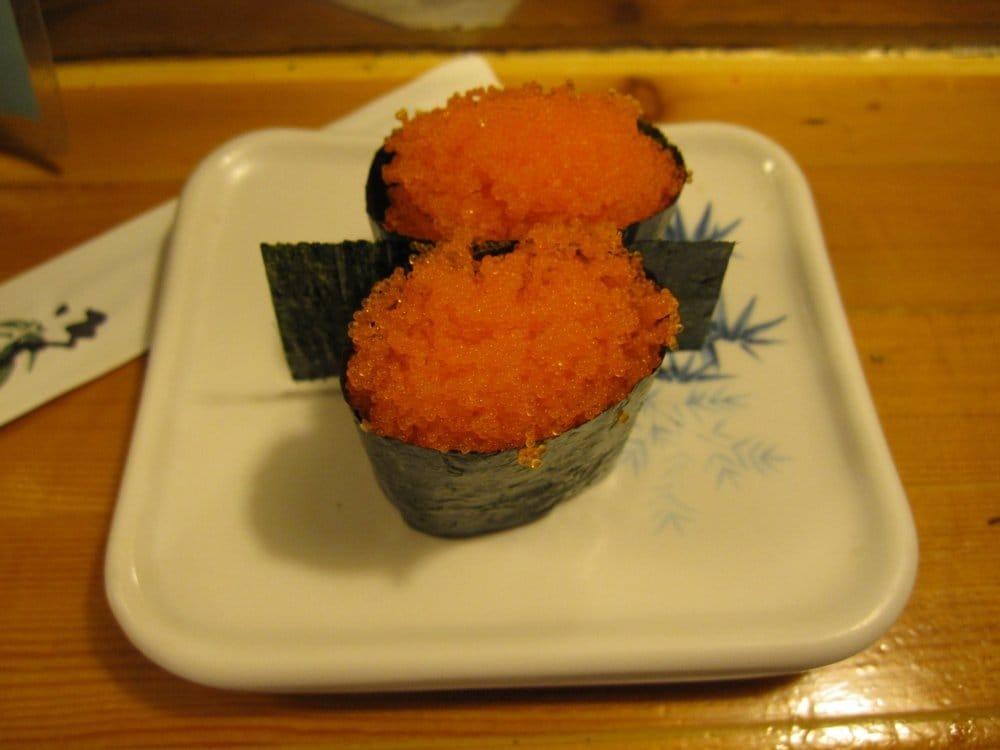 SMELT EGG (tiny fish eggs) sushi | Yelp