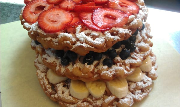 3layer Funnel Cake Cake Blueberries Banana And
