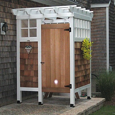 outdoor showers | this outdoor pool shower with changing ...