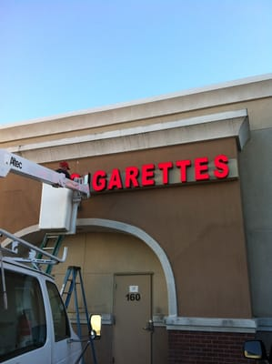 Channel Letters Installation On Top Of 40ft Building