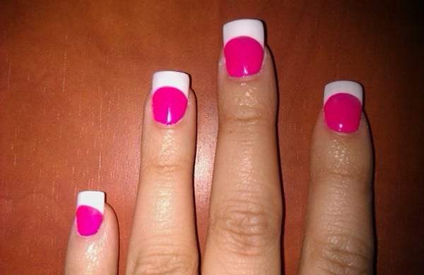 hot pink tip nails - photo #20