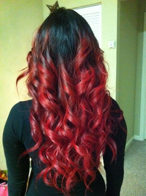 black bright red ombre hair love  love my red ombr  195   169 Black To Red Ombre