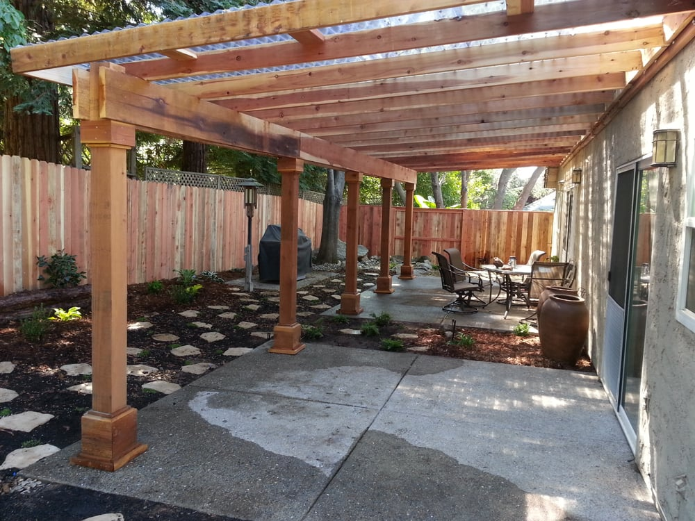 A Water Efficient Back Yard With A Redwood Pergola That