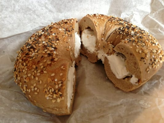 New obsession whole wheat bagel, scooped with tofu cream ...