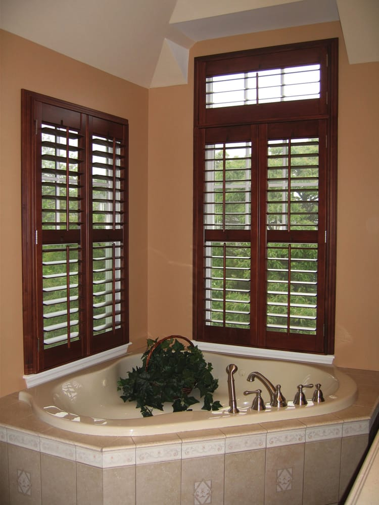 Custom Stained Plantation Shutters With Upper Transom