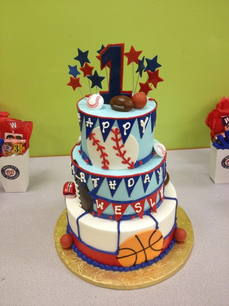 Sports Birthday Cake For A Lucky 1 Year Old Boy Yelp