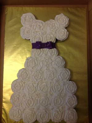 Bridal Shower Cupcake Cake W Purple Ribbon Sash Yelp