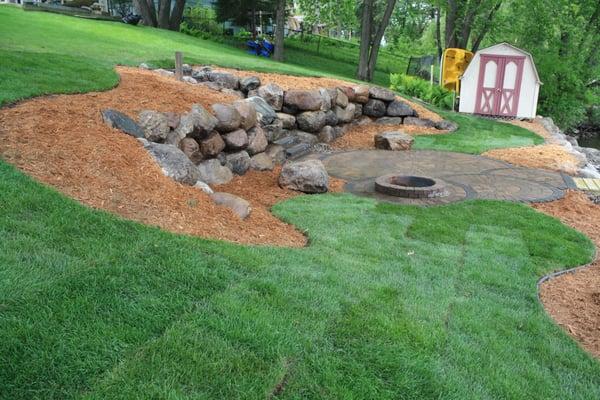 Mississippi restoration yard, 30' boulder wall, 11 steps ... on Uphill Backyard Landscaping Ideas id=88511