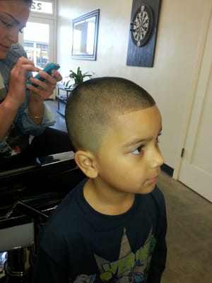 Kids cut Bald Fade with a Number 2 on top and a Edge Up